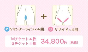 M Vセンターライン×4回+S Vサイド×4回 Mチケット4枚Sチケット4枚 34,800円(税別)