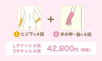 L ヒジ下×4回+S 手の甲・指×4回 Lチケット4枚Sチケット4枚 42,800円(税別)