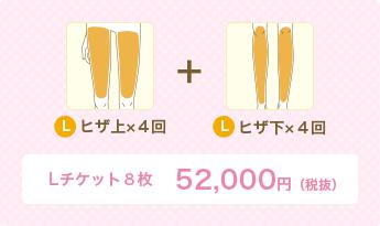 L ヒザ上×4回+L ヒザ下×4回 Lチケット8枚 52,000円(税別)