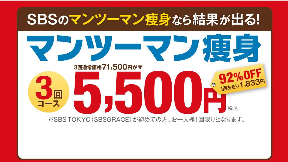 SBSのマンツーマン痩身なら結果が出る! 1ヵ月集中マンツーマン痩身 通常価格81,328円が▶ 施術時間50分×4回 15,500円 81%OFF 1回あたり3,875円 ※SBSTOKYO(SBSGRACE)が初めての方、お一人様1回限りとなります。