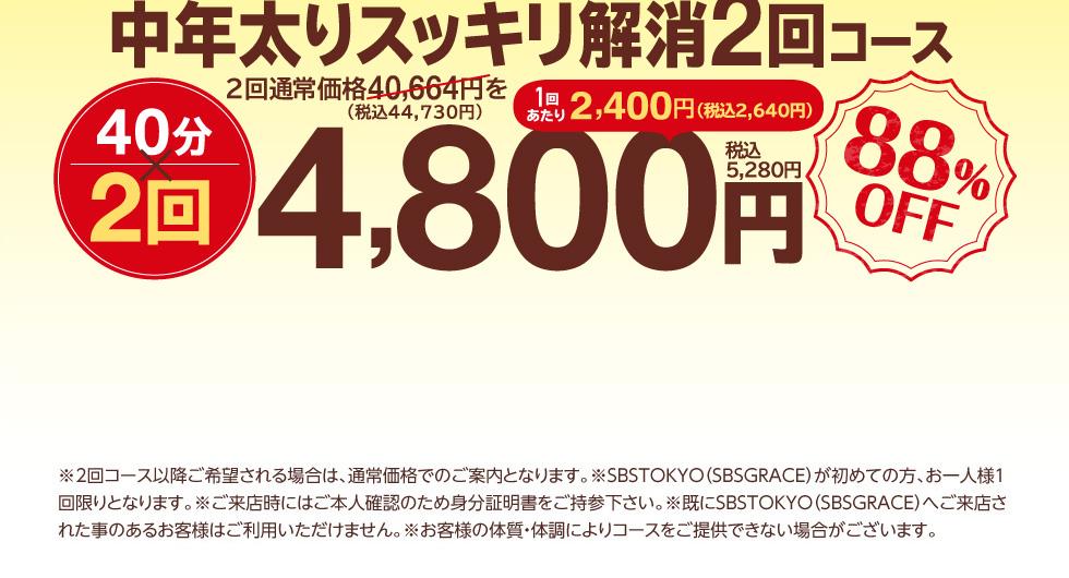 中年太りスッキリ解消2回コース 40分×2回 通常価格40,664円を4,800円 1回あたり2,400円 88%OFF