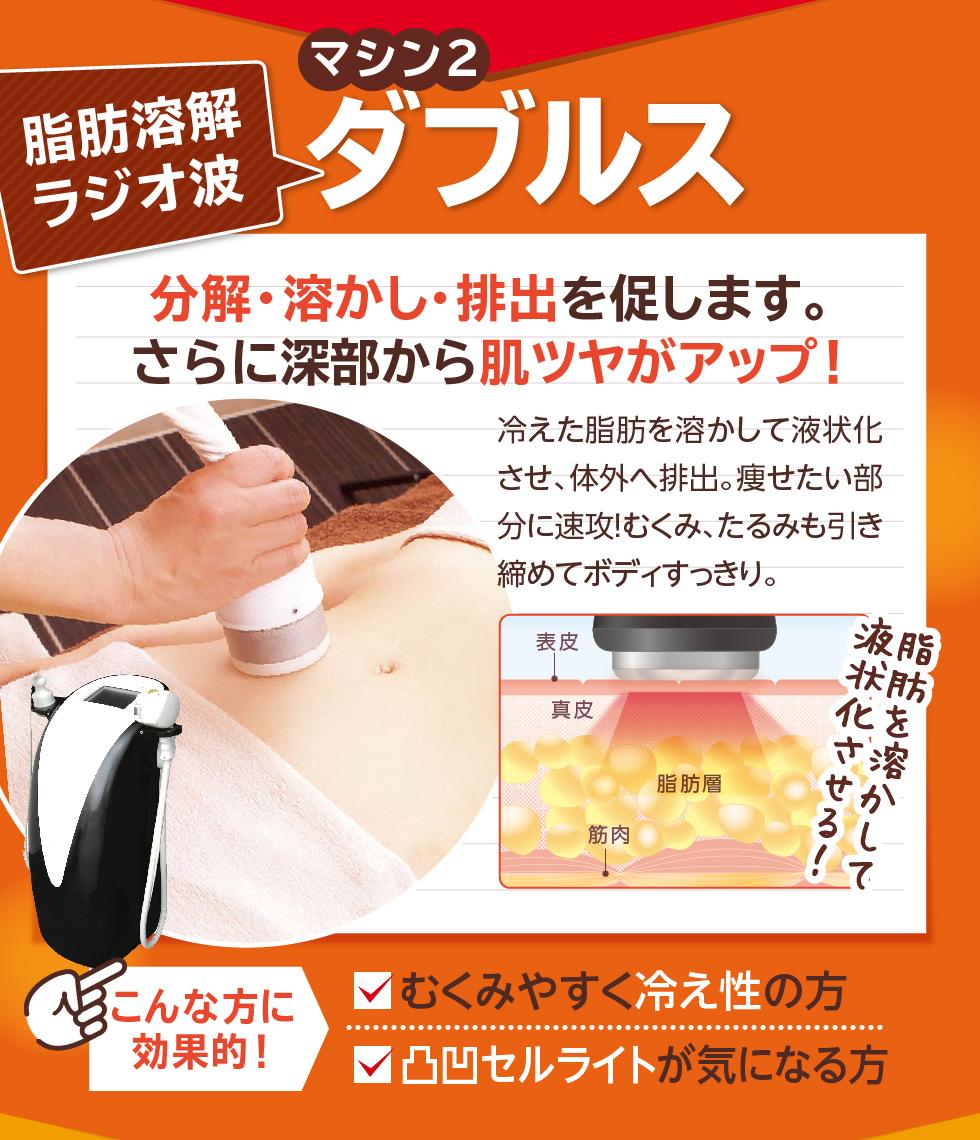 マシン2 脂肪溶解ラジオ波 ダブルス 分解・溶かし・排出を促します。さらに深部から肌ツヤがアップ!