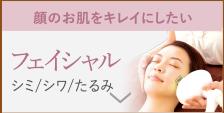 顔のお肌をきれいにしたい フェイシャル シミ/シワ/たるみ